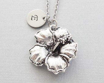 Hibiscus Necklace, Flower Necklace, Floral Jewelry, Mothers Day Gift, Silver Jewelry, Personalized Monogram, Hand Stamped Letter Initial