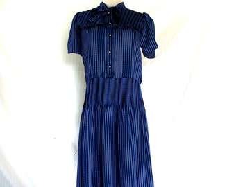 70 Dress Vintage East West Pinstripe Blue Black Dress  Sz S