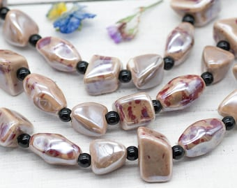 Porcelain Beads, Natural Stone Color, 8pcs,  Ceramic Beads,  Natural Beads, Jewelry Supplies -B296