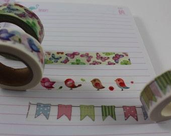 Cute butterfly print washi tape, Little birdie washi tape, bird print washi tape, pastel pennant washi tape, bunting washi tape,  washi tape