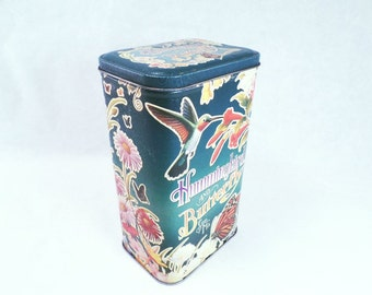 Tin Hummingbird and Butterfly Seed Keeper Vintage 90s