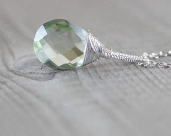 Large Prasiolite & Sterling Silver Pendant. AAAA Green Amethyst Necklace. Wire Wrapped Semi Precious Gemstone Jewelry. Large Pendant Dangle.