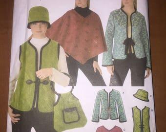 Simplicity Sewing Pattern 4755 Uncut Misses Jacket, Vest, Poncho, Hat and Bag Size 6-12