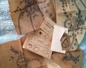 FOUND TEXAS  OBJECTS Vintage embroidery patterns Very Old Handprinted