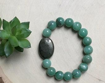 Aventurin und Pyrit Armband - grünen Aventurin Glück Armband - handgemachte grüne Stein Armband - Edelstein-Schmuck - Kristall Armband