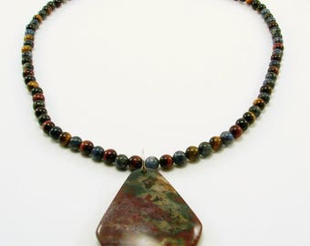 Bloodstone Pendant and Various tiger eye Beaded Necklace