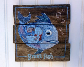 Bible Story of Jonah. Christian fish tale handpainted on reclaimed wood.