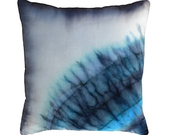 Gray blue throw pillow 19', Gray blue shades in front: shibori & ombre, Gray ombre on back, Silk velvet throw pillow for couch armchair bed