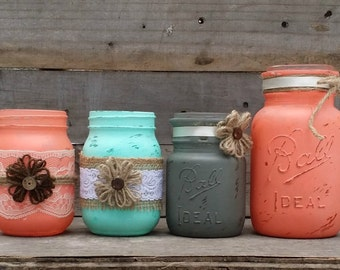 Rustic Mason Jars, Distressed Paint, Rustic Wedding Decor, Country Decor, Set of 4