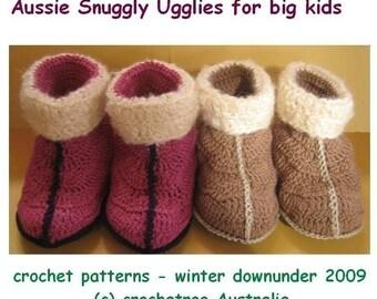 Aussie Snuggly Ugglies for big kids - (crochet patterns pdf)