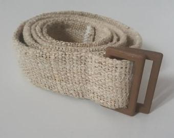 Hemp belt, 3D printed hemp bio-plastic buckle and natural hemp fabric