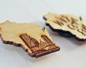 WI State Pride Magnets  | Milwaukee, Wisconsin souvenirs | Little wood etch magnets