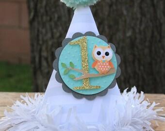 smash cake party hat, photo prop, boy party hat, owl party hat, owl themed party hat, 1st birthday, party hat, woodland birthday