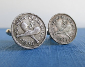 NEW ZEALAND Cuff Links - 500 Silver Repurposed 1930's 3 Pence Coins