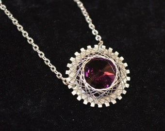 Necklace, Sterling silver and purple swarovski crystal necklace