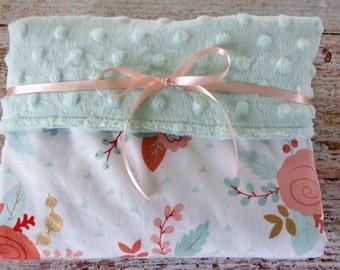 Baby Blanket - Baby Girl Blanket - Mint Minky Blanket - Mint Blush Rose Minky Blanket - Floral Baby Blanket - Nursery Bedding - Baby Gift