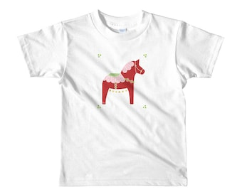 Toddler Short sleeve  t-shirt, Valentine Dala Horse, Dala Horse