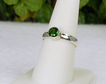 Chrome Diopside Ring, Size 8, Clear Green Color, Natural Gemstone, Sterling Silver, Rare Chrome Diopside, Russian Diopside, Green Gemstone