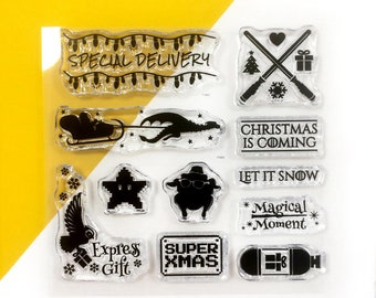 Clear stamps set, Geeky Christmas transparent stamps, funny stamps, christmas is coming, let it snow stamp, bullet journal unmounted stamps