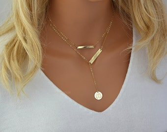 Layered Necklace, Monogram Gold Necklace Engraved, Personalized Necklace Y, Initial Necklace, Name Plate Necklace, Custom Engraved Bar