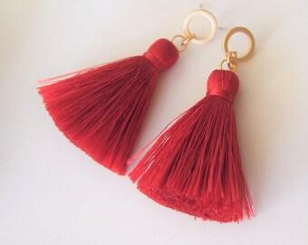 Red Silk Tassel Earrings,Inspirational,Valentines,Red tassel earrings,Fringe Earring,Boho Chic,Bohemian,Red Earrings,Love Gift,Red accessory