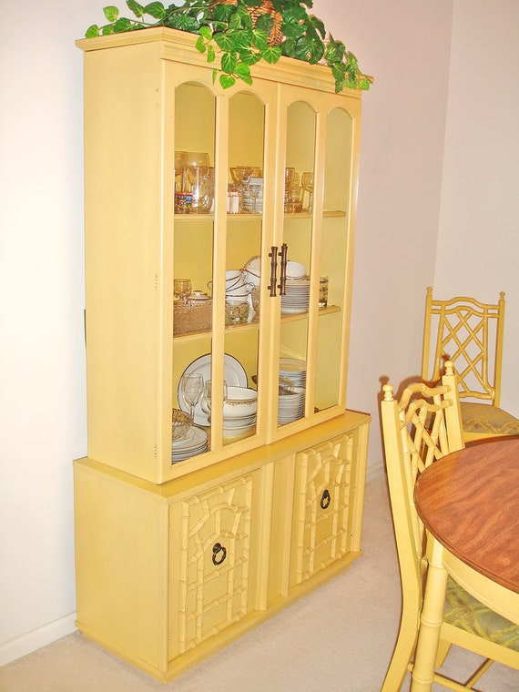Vintage 1970s Yellow Bamboo Wood Dining Table And Six Chairs China Cabinet Hutch Buffet
