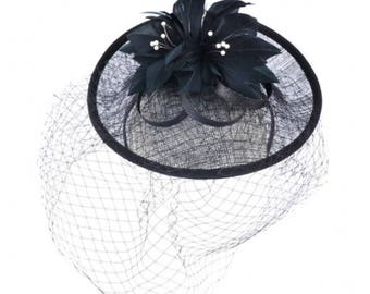 Elegant Faux Feather Fascinator - Black