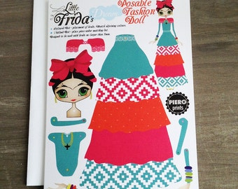 Little Frida's Dream Articulated Paper Doll Greeting Card 1, Blank Inside