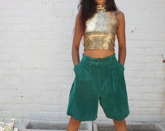 1980s Shorts Vintage Green Suede Leather Bermudas