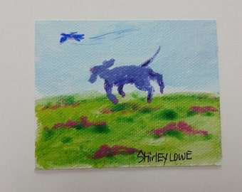 Purple dog painting, dog memorial, dog mini art, fits in a 5x7, art gift, hostess gift, happy gift, dog celebration of life, dog fun art