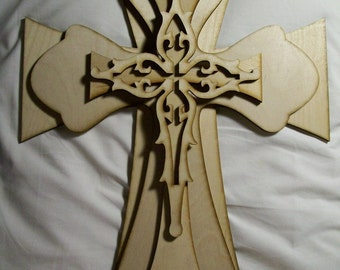 UNFINISHED WOOD layered stack cross KIT style 402 - 15''
