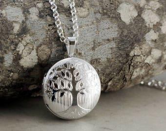 Sterling Silver Locket necklace, Tree, round picture locket, adjustable length, keepsake jewelry