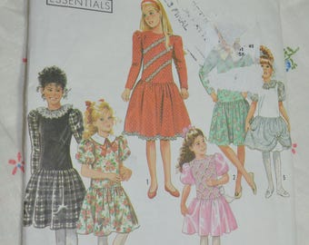 Simplicity 9935 Girls Dress with Sleeve and Trim Variations  Sewing Pattern UNCUT Size 7 - 14