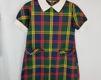 Vintage Plaid A-Line Shift Dress School Girl 10 11 Collar Mod Navy Blue Red Green Short Sleeve