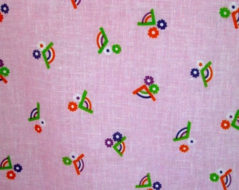 "Small Vintage FABRIC Piece~Rainbow and Flower Design Pink Cotton Blend Semi-Sheer 45"" Wide 33"" Long"