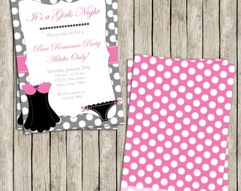 SALE!! Diy Printable Girls Night Out Pure Romance Adult Party 5x7 Invite - Lingerie Party - Bachelorette Party - Instant Download!
