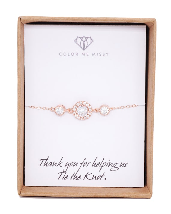 Rose Gold Cubic Zirconia Bracelet - Rose Gold Filled Chain, Pink Gold wedding bridal bride bridesmaid best friend sister friendship bracelet