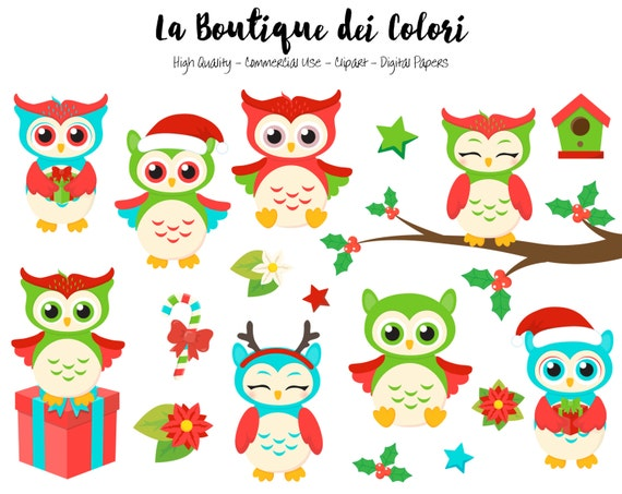 christmas owls clipart cute digital graphics png birds winter rh etsystudio com happy holiday clip art pictures free happy holidays clip art for email