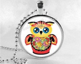 MATROYSHKA OWL Necklace, Bird Necklace, Owl Pendant, Owl Jewelry, Glass Art Pendant Charm, Russian Doll Jewelry