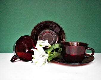 2 - Vintage Royal Ruby Cups and Saucers by Anchor Hocking