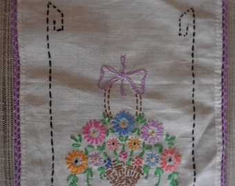 Basket of Flowers Hand Stitched