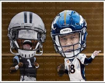 Cam Newton, Carolina Panthers and Peyton Manning, Denver Broncos, Super Bowl 50 Art Photo Print.