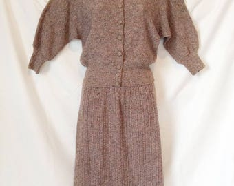 Vintage 40's women's wool knit suit, blouse-style top with long ribbed skirt, multi-colored boucle' yarn