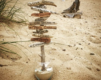 Personalized Driftwood Tree - centerpiece, hand engraved signs, travel, wanderlust, destinations, Christmas gift, anniversary, beach decor