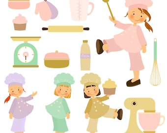 Cooking Clipart, Girl clipart, Chef Clipart Kitchen Clipart, Instant download