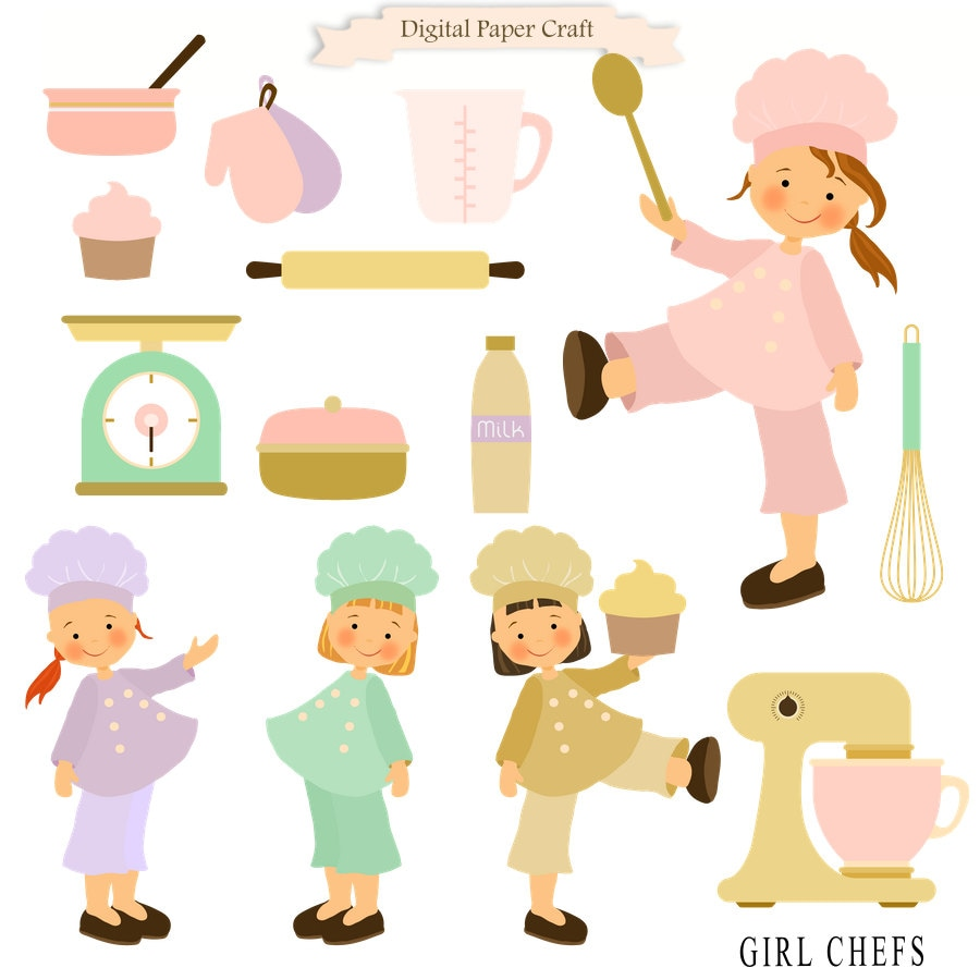 cooking clipart girl clipart chef clipart kitchen clipart rh etsy com kids cooking clip art free