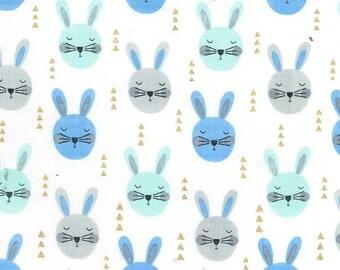 Aqua Bunnies, Michael Miller Fabric, Quilting Fabric, 100% Cotton, Blue Rabbits, Boys Fabric, Nursery Fabric, Baby Quilt Fabric, Metallic