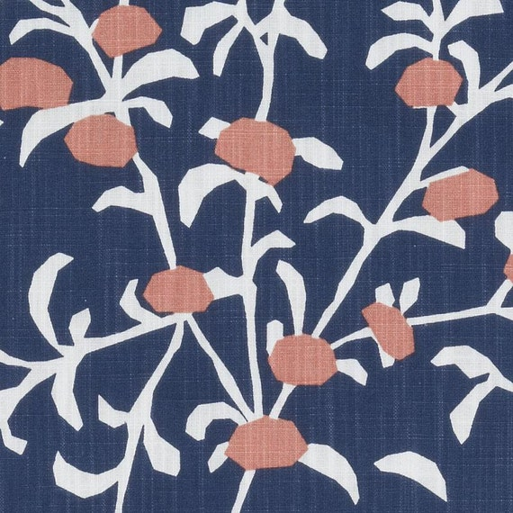Navy Blue Coral Floral Upholstery Drapery Fabric Modern Blue