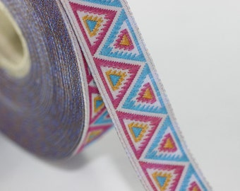 16 mm Blue/Pink Chevron Jacquard ribbon (0.62 inc), Decorative ribbon, Craft Ribbon, Sewing, Jacquard trim, ribbon trim, towel supply, 16915