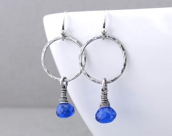 Simple Silver Hoop Earrings for Women Blue Stone Earrings Silver Drop Earrings Girlfriend Gift for Her Unique Silver Jewelry - Simple Hoops